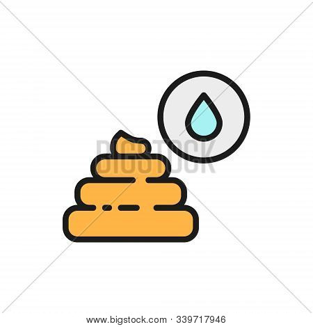 Liquid Feces, Indigestion Flat Color Line Icon. Isolated On White Background