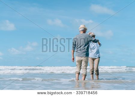 Asian Couple Senior Elder Dancing Retirement Resting Relax At Sunset Beach Honeymoon Family Together