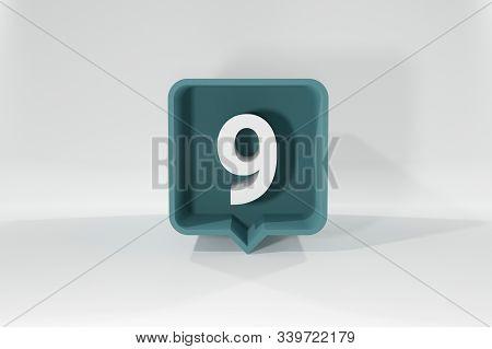 9 Number Balloon Icon. Speech Balloon 3d. Number Nine. 3d Illustration.
