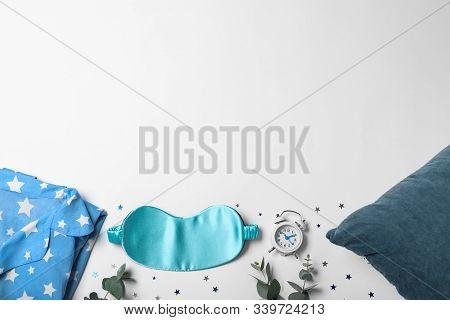 Composition With Sleeping Mask On White Background, Top View. Bedtime Accessories