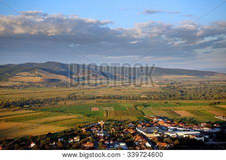 Aerial view of a transylvanian village, Romania, Europe