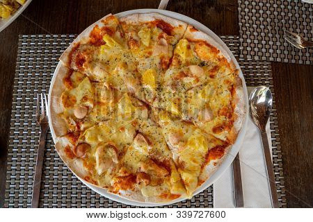 Hawaiian Pizza Homemade In The White Dish For Served, Lunch Meal
