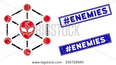 Mosaic Alien Network Icon And Rectangular Hashtag Enemies Rubber Prints. Flat Vector Alien Network M