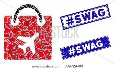Mosaic Duty Free Bag Icon And Rectangular Hashtag Swag Stamps. Flat Vector Duty Free Bag Mosaic Icon
