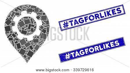 Mosaic Gear Marker Pictogram And Rectangular Hashtag Tagforlikes Seals. Flat Vector Gear Marker Mosa