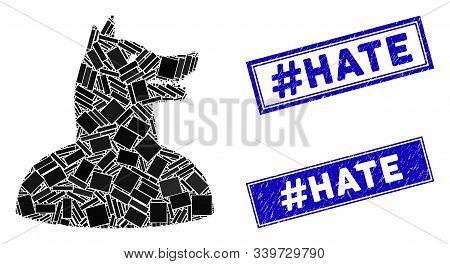 Mosaic Man Dog Icon And Rectangular Hashtag Hate Seal Stamps. Flat Vector Man Dog Mosaic Icon Of Ran