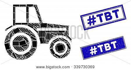 Mosaic Wheeled Tractor Icon And Rectangle Hashtag Tbt Seals. Flat Vector Wheeled Tractor Mosaic Icon