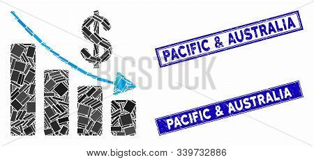 Mosaic Recession Icon And Rectangle Pacific And Australia Seals. Flat Vector Recession Mosaic Icon O