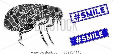 Mosaic Flea Icon And Rectangular Hashtag Smile Seal Stamps. Flat Vector Flea Mosaic Icon Of Randomiz