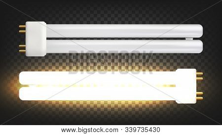 Lighting Lamp With Two Fluorescent Tubes Vector. Compact Electrical Low-pressure Mercury-vapor Gas-d