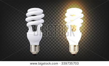 Energy Efficiency Fluorescent Lamp Cfl Vector. Illuminating Modern Low-energy Fluoresent Electric Li