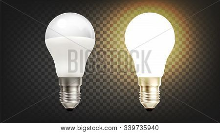 Energy Save Electric Glowing Led Light Bulb Vector. Light-emitting Diodes In Light Bulb, Economical