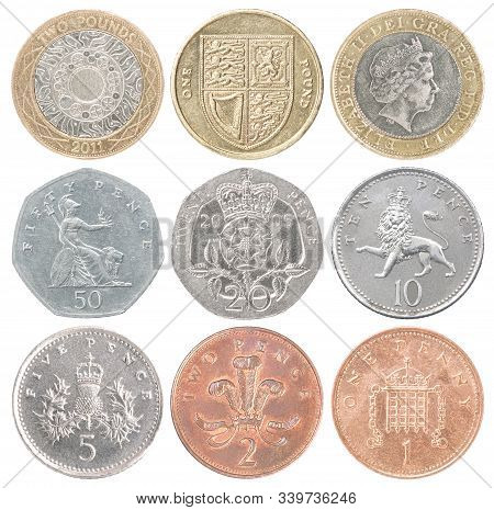 Complete Set Of Uk Coins Isolated On White Background