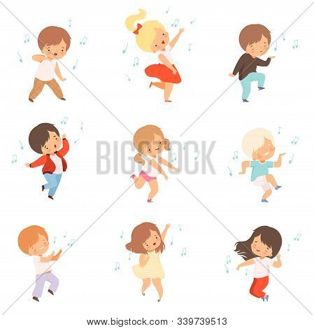 Cute Boys And Girls Singing And Dancing Set, Lovely Kids Enjoying Listening To Music Cartoon Vector