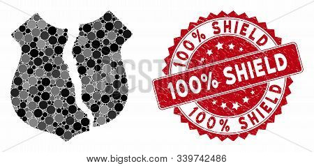 Mosaic Destroyed Shield And Distressed Stamp Seal With 100 Percent Shield Caption. Mosaic Vector Is