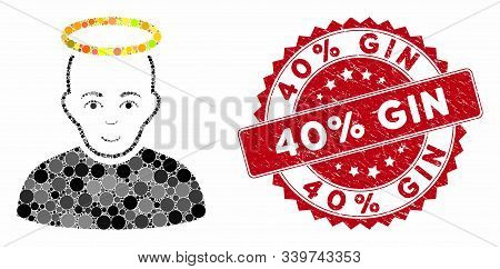 Mosaic Holy Man And Rubber Stamp Seal With 40 Percent Gin Caption. Mosaic Vector Is Created With Hol