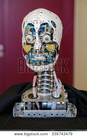 Skolkovo, Russia - April 16, 2019: Demonstration of a prototype of new humanoid robot