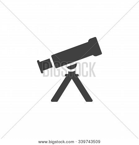 Telescope On Tripod Vector Icon. Filled Flat Sign For Mobile Concept And Web Design. Astro Telescope