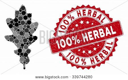 Mosaic Oak Leaf And Corroded Stamp Seal With 100 Percent Herbal Caption. Mosaic Vector Is Composed W