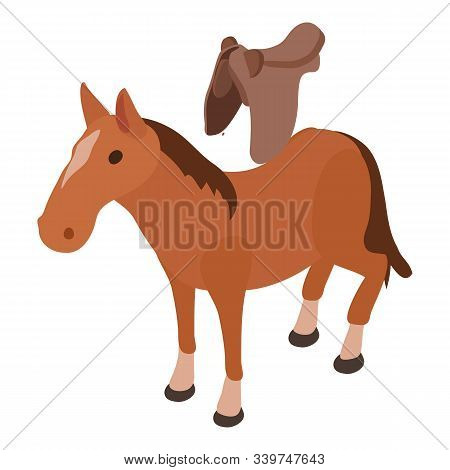Saddled Horse Icon. Isometric Illustration Of Saddled Horse Vector Icon For Web