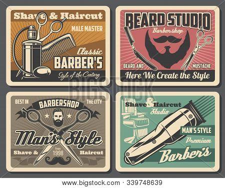 Barbershop Professional Salon, Barber Shop Hairdresser Premium Vintage Posters. Vector Gentleman And
