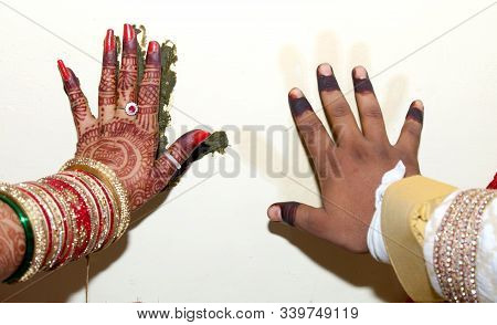 Indian Bride & Groom Hand Print To Cloth Ritual Ceremony