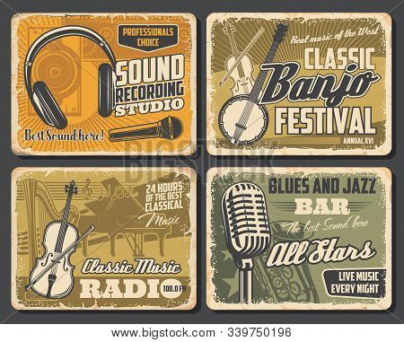 Music Vintage Retro Posters, Folk Musical Festival And Professions Dj Sound Recording Studio. Vector