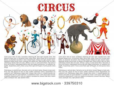 Circus Entertainment Show Animal Tamers, Clowns And Equilibrists, Magician Illusionist And Muscleman