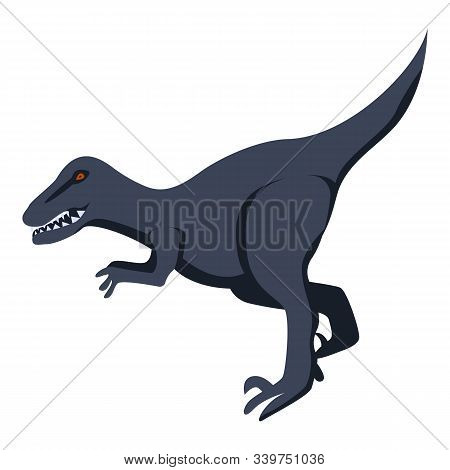 Black Dinosaur Icon. Isometric Of Black Dinosaur Vector Icon For Web Design Isolated On White Backgr