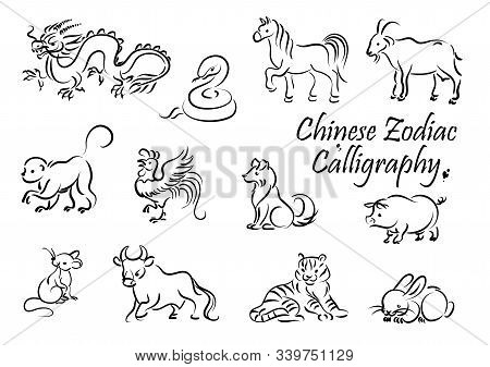 Zodiac Animal Vector Icons Of Chinese Horoscope New Year Symbols. Rat, Dragon And Dog, Pig, Tiger An