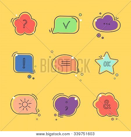 Chat Comment. Speech Bubbles With Different Symbols. Vector Illustration