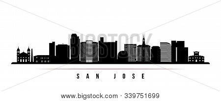 San Jose Skyline Horizontal Banner. Black And White Silhouette Of San Jose, California. Vector Templ