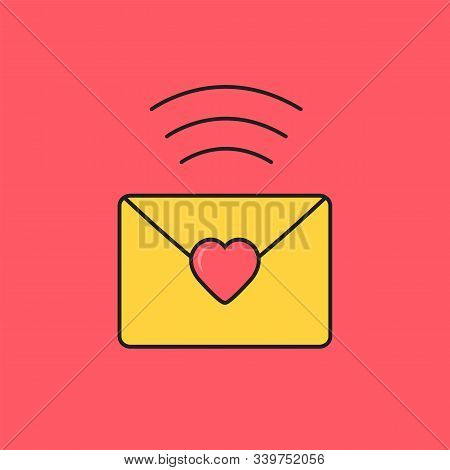 Love Letter With Wifi. Dating Smartphone App Concept. Vector Illustration