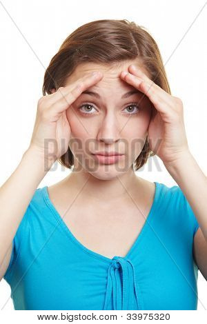 Attractive woman holding hands beside her eyes as blinkers