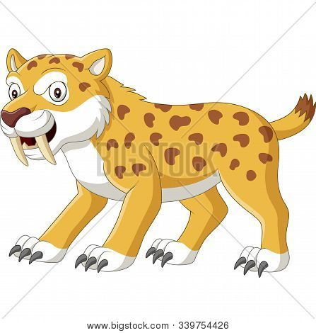 Vector Illustration Of Cartoon Angry Wildcat On White Background