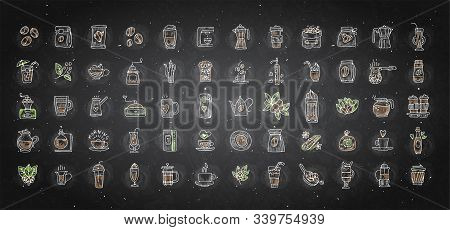 Vector Set Of Coffee Icons On Black Chalk Background. Hand Drawn Coffee Icon, Vector Doodle Collecti