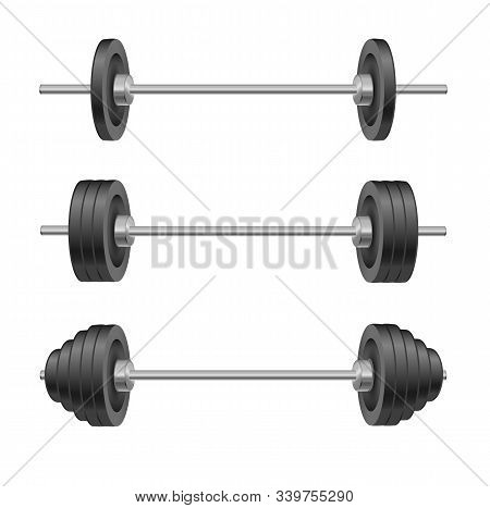 Barbells Set Of With Different Weights. Weightlifting Equipment. Vector Illustration In Flat Style I