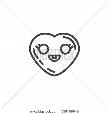 Grinning Heart With Smiling Face Emoji Line Icon. Linear Style Sign For Mobile Concept And Web Desig