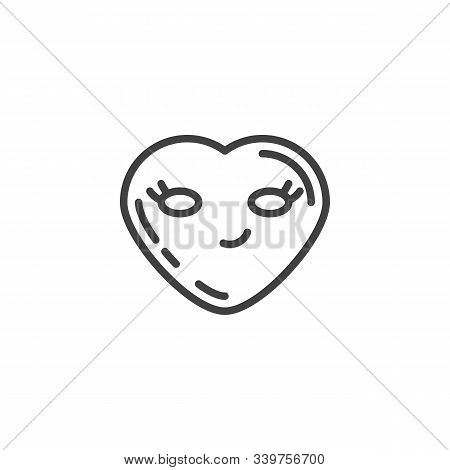 Smirking Face Emoji Line Icon. Linear Style Sign For Mobile Concept And Web Design. Sly Smile Heart