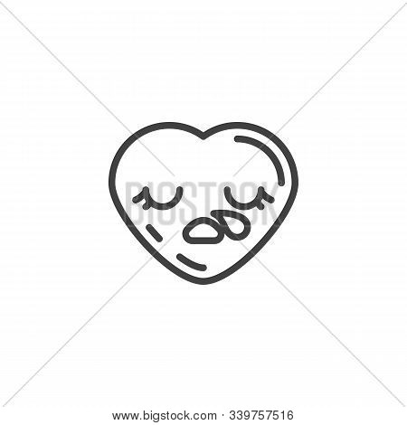 Sleepy Heart Face Emoji Line Icon. Linear Style Sign For Mobile Concept And Web Design. Drooling Hea