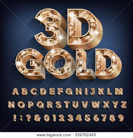 3d Gold Alphabet Font. Bold Glitter Letters, Numbers And Symbols With Shadow. Stock Vector Typescrip
