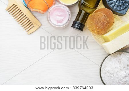Body Care Products In Recyling Package. Zero Waste And Low Impact Concept