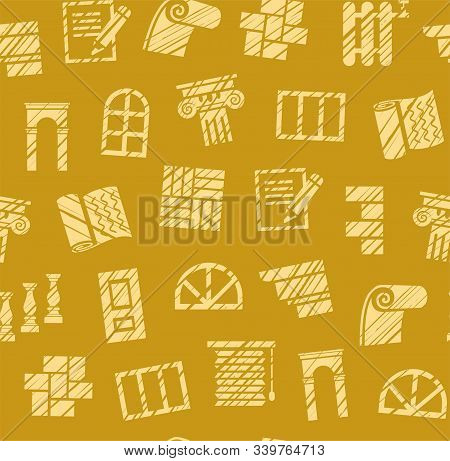 Finishing Materials, Construction, Seamless Pattern, Pencil Hatching, Mustard, Colored, Vector. Fini