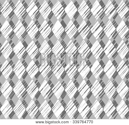 Diamonds, Pattern, Shading, Seamless Background, Grey, Vector.  Vertical Stripes Of White Diamonds O