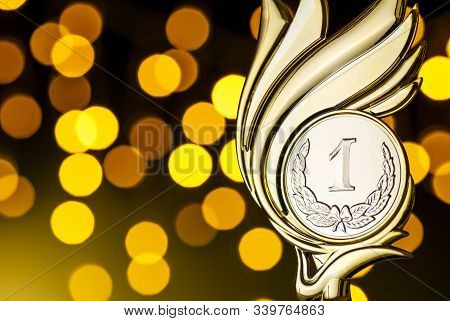 Gold Award Trophy For The Winner Of A Competition