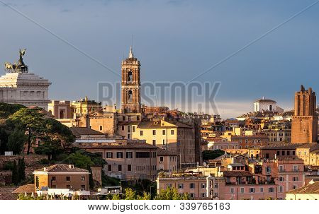 Amazing Landscape With Rome, Italy With Sunset Light.