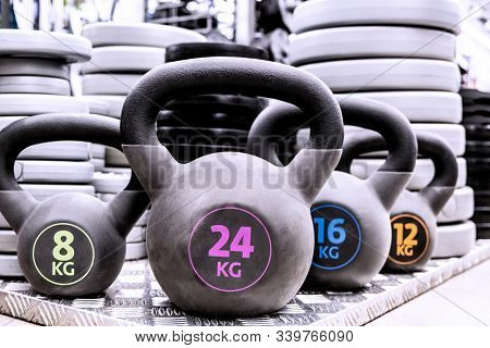 Weights And Dumbbells. Fit Workout, Workout Body Workout For Young Athlete. Training In The Gym