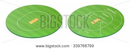 Top View On Cricket Pitch Or Ball Sport Game Field, Grass Stadium Background Or Circle Arena For Cri