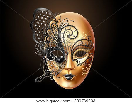 Volto Mask Decorated With Diamonds And Butterfly Lace. Face Cover Design For Party Or Carnival, Masq
