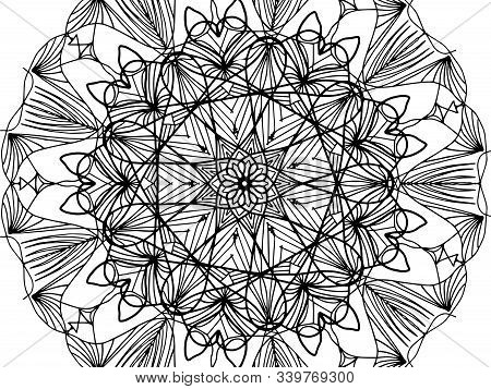 Children Coloring, Drawing Mandala, Flower. Leaves Set Of Different Plants And Trees. Star Shape Or